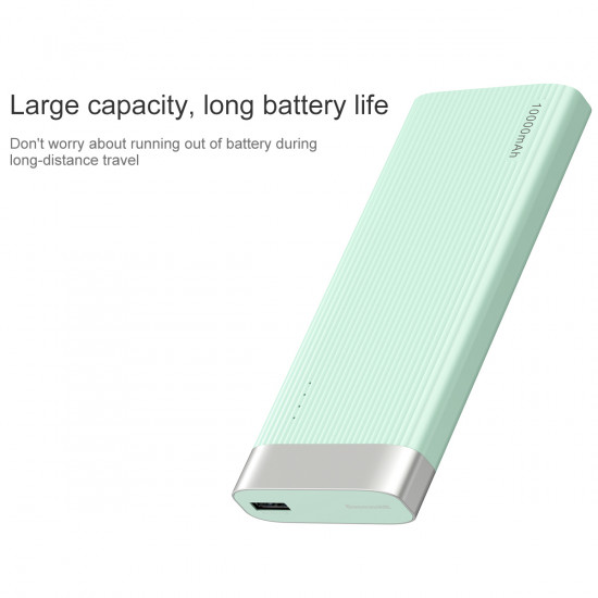 Baseus Parallel Line External Battery Power Bank 10000mAh 2.1A USB and Type C for Smartphones - Blue - PPALL-PX03
