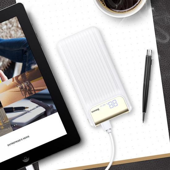 Baseus Thin Digital 10000mAh 2.1A External Battery Power Bank with 2 USB for Smartphones - White - PPYZ-C02