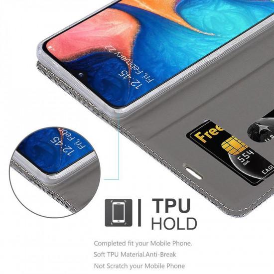 Cadorabo Samsung Galaxy A20e Θήκη Βιβλίο Stand - Grey - Brown