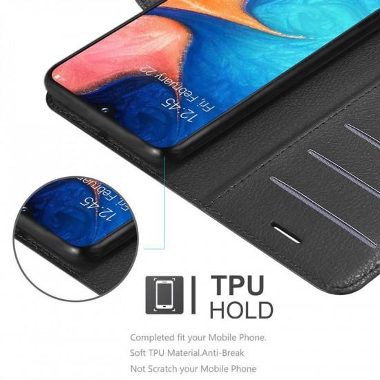 Cadorabo Samsung Galaxy A20e Θήκη Πορτοφόλι Stand από Δερματίνη - Black