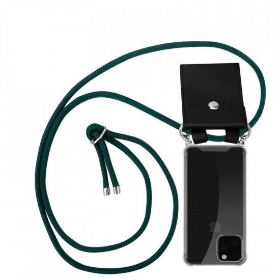 Cadorabo Apple iPhone 11 Pro Θήκη Σιλικόνης TPU με Λουράκι και Πορτοφόλι - Διάφανη - Army Green