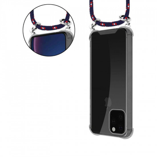 Cadorabo Apple iPhone 11 Pro Max Θήκη Σιλικόνης TPU με Λουράκι και Πορτοφόλι - Διάφανη - Red - Blue - White