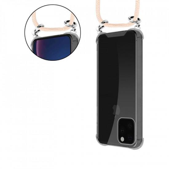 Cadorabo Apple iPhone 11 Pro Max Θήκη Σιλικόνης TPU με Λουράκι και Πορτοφόλι - Διάφανη - Rose Gold
