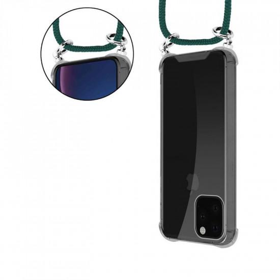 Cadorabo Apple iPhone 11 Pro Max Θήκη Σιλικόνης TPU με Λουράκι και Πορτοφόλι - Διάφανη - Army Green