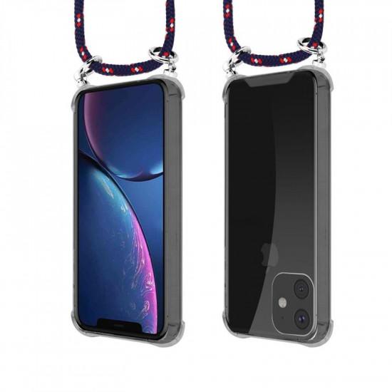 Cadorabo Apple iPhone 11 Θήκη Σιλικόνης TPU με Λουράκι και Πορτοφόλι - Διάφανη - Red - Blue - White