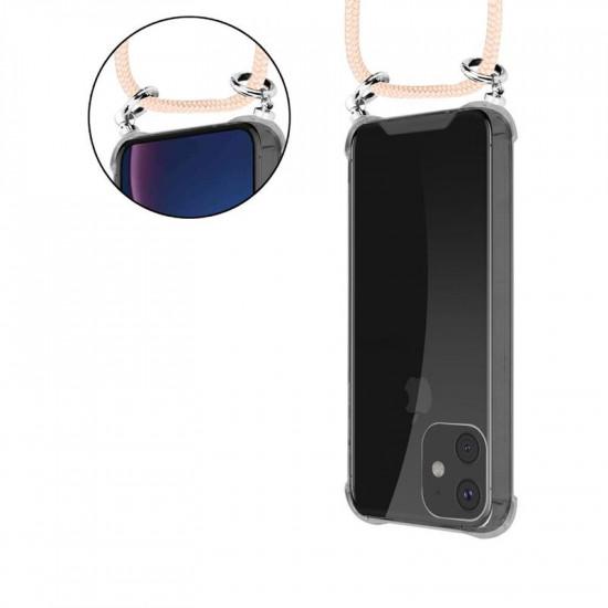 Cadorabo Apple iPhone 11 Θήκη Σιλικόνης TPU με Λουράκι και Πορτοφόλι - Διάφανη - Rose Gold