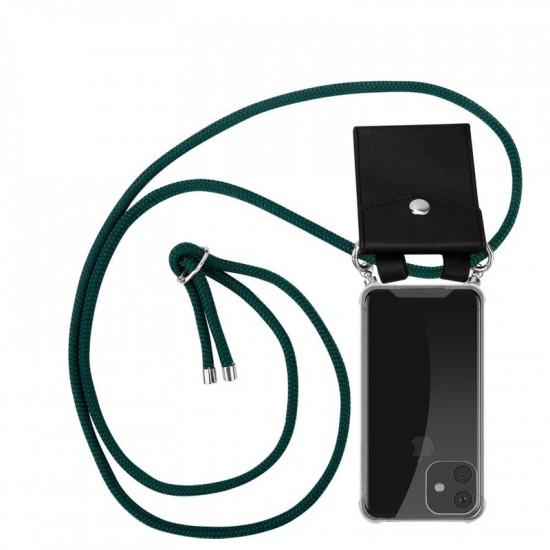 Cadorabo Apple iPhone 11 Θήκη Σιλικόνης TPU με Λουράκι και Πορτοφόλι - Διάφανη - Army Green