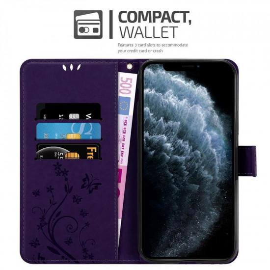 Cadorabo Apple iPhone 11 Θήκη Πορτοφόλι Stand από Δερματίνη - Floral - Dark Purple