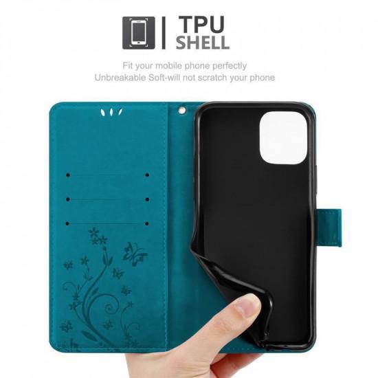 Cadorabo Apple iPhone 11 Θήκη Πορτοφόλι Stand από Δερματίνη - Floral - Blue