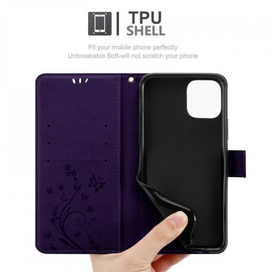 Cadorabo Apple iPhone 11 Pro Θήκη Πορτοφόλι Stand από Δερματίνη - Floral - Dark Purple