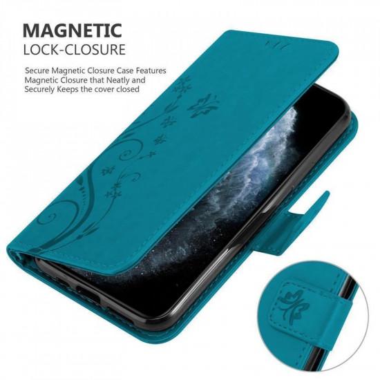 Cadorabo Apple iPhone 11 Pro Θήκη Πορτοφόλι Stand από Δερματίνη - Floral - Blue