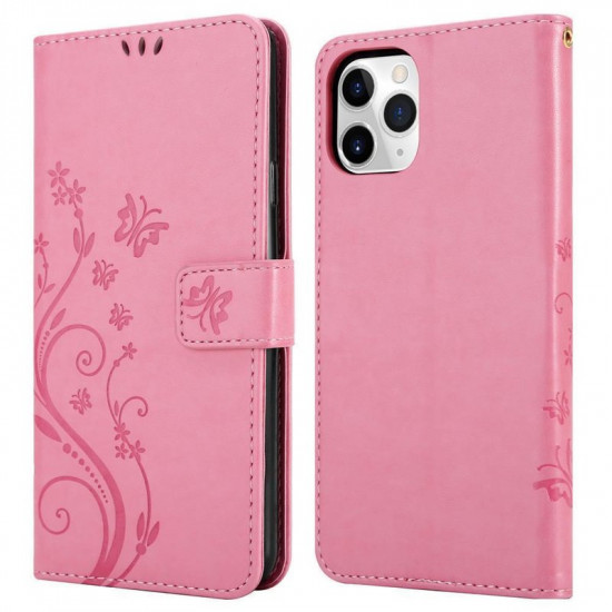 Cadorabo Apple iPhone 11 Pro Θήκη Πορτοφόλι Stand από Δερματίνη - Floral - Pink