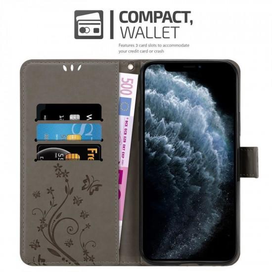 Cadorabo Apple iPhone 11 Pro Max Θήκη Πορτοφόλι Stand από Δερματίνη - Floral - Grey
