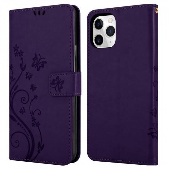 Cadorabo Apple iPhone 11 Pro Max Θήκη Πορτοφόλι Stand από Δερματίνη - Floral - Dark Purple