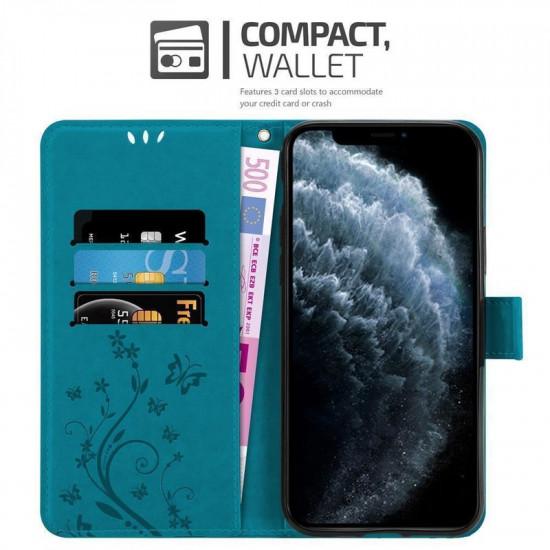 Cadorabo Apple iPhone 11 Pro Max Θήκη Πορτοφόλι Stand από Δερματίνη - Floral - Blue