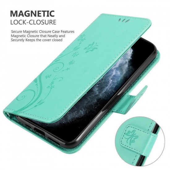 Cadorabo Apple iPhone 11 Pro Max Θήκη Πορτοφόλι Stand από Δερματίνη - Floral - Turquoise