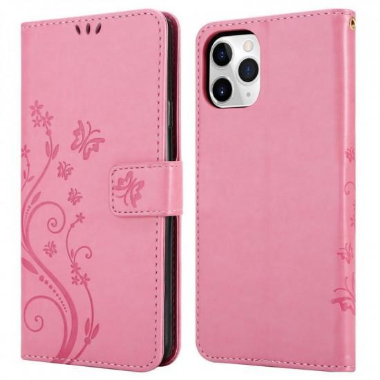Cadorabo Apple iPhone 11 Pro Max Θήκη Πορτοφόλι Stand από Δερματίνη - Floral - Pink