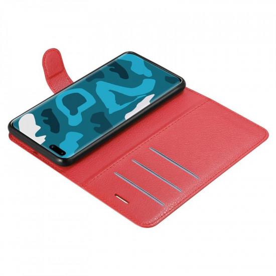 Cadorabo Huawei P40 Pro Θήκη Πορτοφόλι Stand από Δερματίνη - Red