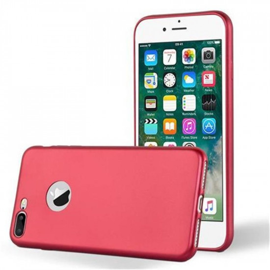 Cadorabo Apple iPhone 7 Plus / 8 Plus Θήκη Σιλικόνης - Metallic Red
