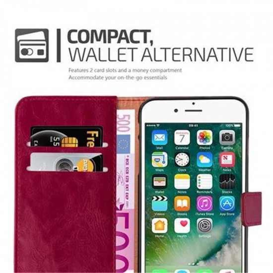 Cadorabo Apple iPhone 7 Plus / 8 Plus Θήκη Πορτοφόλι Stand από Δερματίνη - Brown - Wine Red