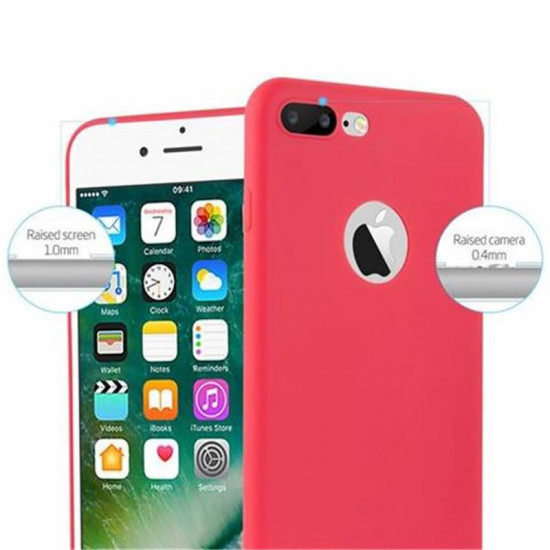 Cadorabo Apple iPhone 7 Plus / 8 Plus Matte Θήκη Σιλικόνης - Red