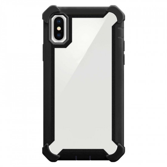 Cadorabo Apple iPhone X / XS Σκληρή Θήκη Υψηλής Προστασίας με Πλαίσιο Σιλικόνης - Black