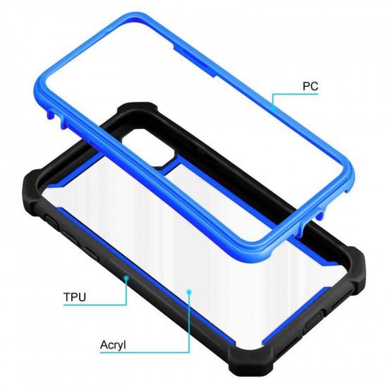 Cadorabo Apple iPhone X / XS Σκληρή Θήκη Υψηλής Προστασίας με Πλαίσιο Σιλικόνης - Black - Blue