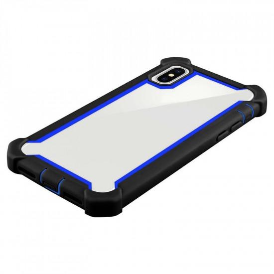 Cadorabo Apple iPhone XS Max Σκληρή Θήκη Υψηλής Προστασίας με Πλαίσιο Σιλικόνης - Black - Blue