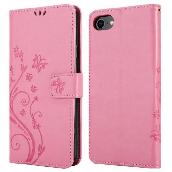 Cadorabo Apple iPhone SE 2020 / 7 / 8 Θήκη Πορτοφόλι Stand από Δερματίνη - Floral - Pink