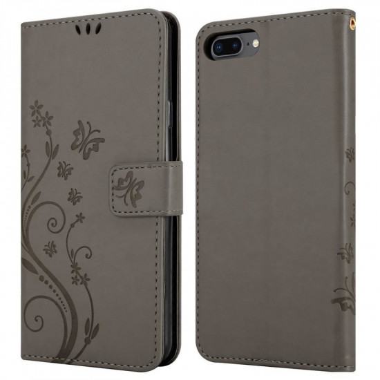 Cadorabo Apple iPhone 7 Plus / 8 Plus Θήκη Πορτοφόλι Stand από Δερματίνη - Floral - Grey