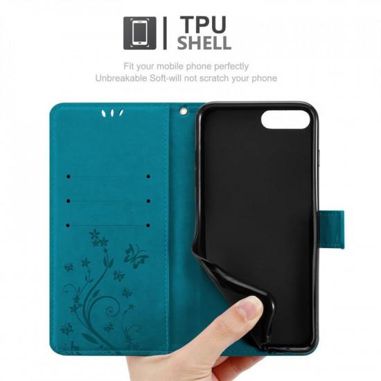 Cadorabo iPhone 7 Plus / 8 Plus Θήκη Πορτοφόλι Stand από Δερματίνη - Floral - Blue