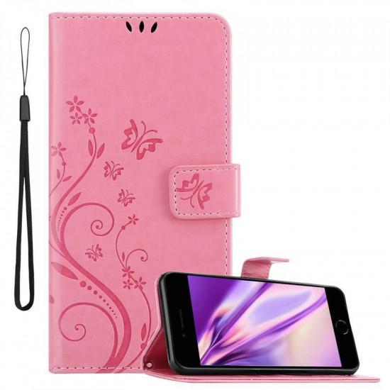 Cadorabo Apple iPhone 7 Plus / 8 Plus Θήκη Πορτοφόλι Stand από Δερματίνη - Floral - Pink