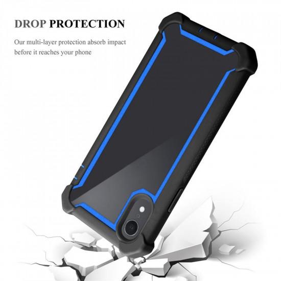 Cadorabo iPhone XR Σκληρή Θήκη Υψηλής Προστασίας με Πλαίσιο Σιλικόνης - Blue - Black