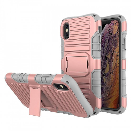 Cadorabo Apple iPhone X / XS Σκληρή Θήκη Υψηλής Προστασίας με Πλαίσιο Σιλικόνης και Stand - Rose Gold