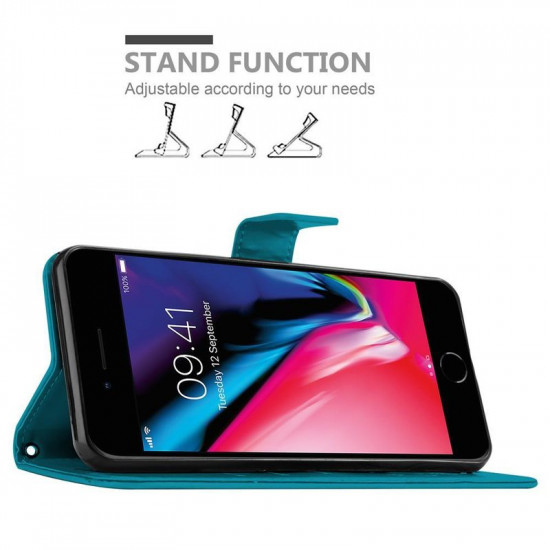 Cadorabo Apple iPhone SE 2020 / 7 / 8 Θήκη Πορτοφόλι Stand από Δερματίνη - Floral - Blue