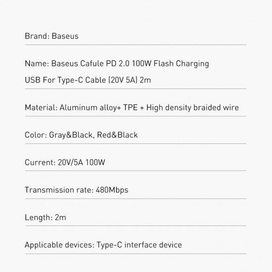 Baseus Cafule Cable Type-C 5A PD 2.0 100W - Καλώδιο Γρήγορης Φόρτισης Type-C to Type-C 2M - Black / Grey - CATKLF-ALG1