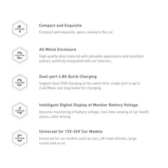 Baseus Digital Display Φορτιστής Αυτοκινήτου 4.8A με Δύο Θύρες USB - Grey - CCBX-0G