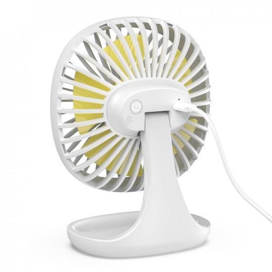 Baseus Pudding-Shaped Fan - Mini Ανεμιστήρας Γραφείου με Καλώδιο USB - White - CXBD-02