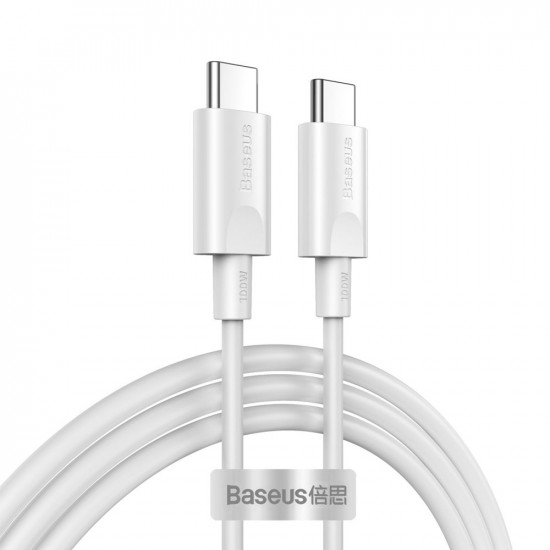 Baseus Xiaobai Cable Type-C 5A PD 100W - Καλώδιο Γρήγορης Φόρτισης Type-C to Type-C 1,5M - White - CATSW-D02