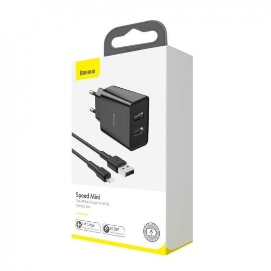 Baseus Speed Mini Dual USB Charger 10.5W - Οικιακός Φορτιστής 2.1A με 2 Θύρες USB και Καλώδιο Lightning - Black - TZCCFS-R01