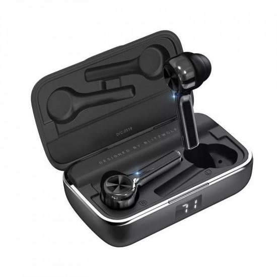 BlitzWolf Wireless Earphones Bluetooth 5.0 - Ασύρματα ακουστικά για Κλήσεις / Μουσική - Black - BW-FYE6