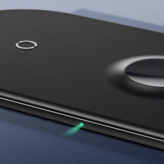 Baseus Smart 3in1 Ασύρματος Φορτιστής Qi Charge για Smartphones, Ακουστικά και Apple Watch 18W - Black - WX3IN1-C01