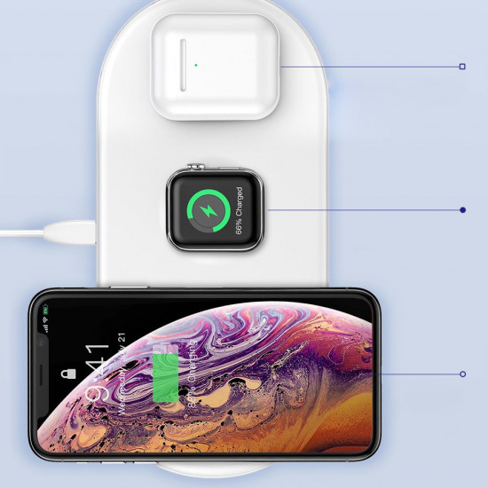 Baseus Smart 3in1 Ασύρματος Φορτιστής Qi Charge για Smartphones, Ακουστικά και Apple Watch 18W - White - WX3IN1-C02