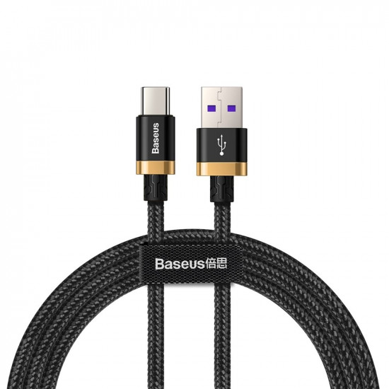 Baseus Purple Flash Charge Cable Type-C 5A 40W - Καλώδιο Γρήγορης Φόρτισης Type-C 1M - Black - CATZH-AV1