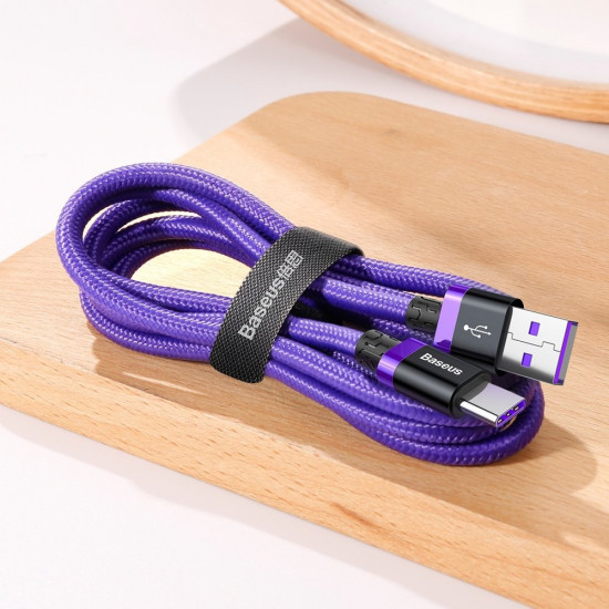 Baseus Purple Flash Charge Cable Type-C 5A 40W - Καλώδιο Γρήγορης Φόρτισης Type-C 1M - Purple - CATZH-A05