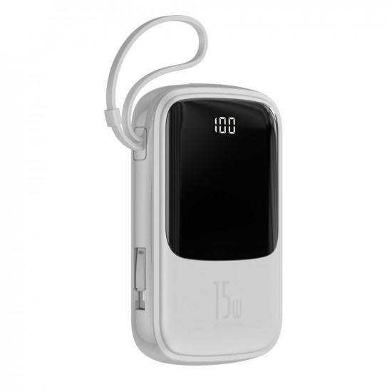 Baseus Q Pow Digital External Battery Power Bank 10000mAh 3A με Καλώδιο Lightning - White - PPQD-B02