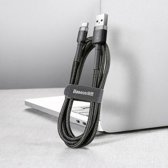 Baseus Cafule Cable Type-C QC 3.0 3A - Καλώδιο Γρήγορης Φόρτισης Type-C 0,5M - Black / Grey - CATKLF-AG1