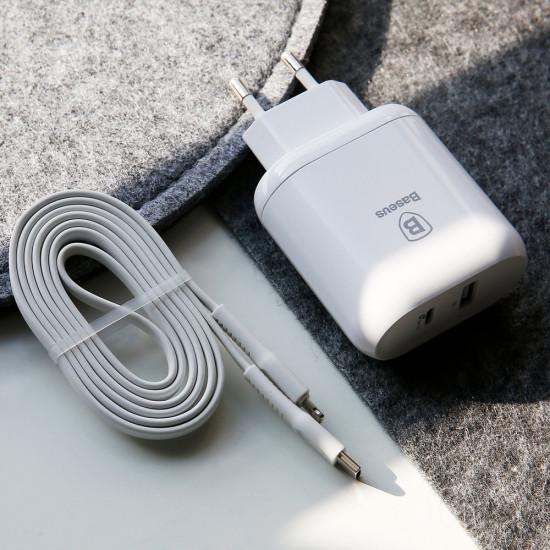 Baseus Bojure Series Οικιακός Φορτιστής Γρήγορης Φόρτισης USB και Type-C PD 32W με Καλώδιο Type-C to Lightning - White - TZTUN-BJ02