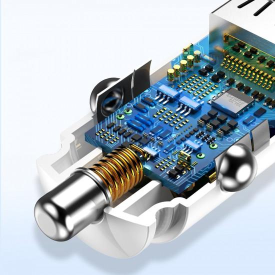 Baseus Circular Smart Φορτιστής Αυτοκινήτου Γρήγορης Φόρτισης με 2 Θύρες USB 5A QC 3.0 30W - Black - CCALL-YD01