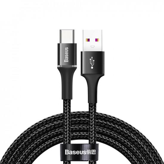 Baseus Halo Data Cable Type-C 5A 40W - Καλώδιο Γρήγορης Φόρτισης Type-C 2M - Black - CATGH-H01